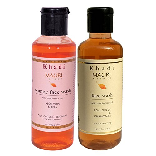 Khadi Orange & Fenugreek (Methi) Herbal Face Wash- Pack of 2, 210 ml Each- Enriched with Aloe Vera, Basil & Chamomile  available at amazon for Rs.220