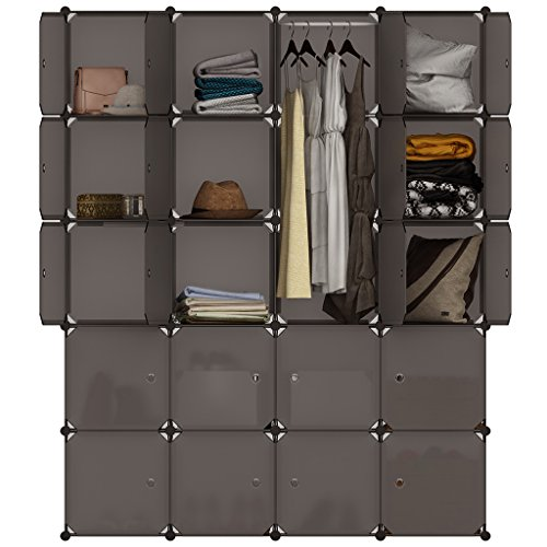 LANGRIA Regalsystem Kleiderschrank 20 Kubus Garderobenschrank für Aufbewahrung Kleidung, Schuhe, Spielzeug und Bücher (Braun)