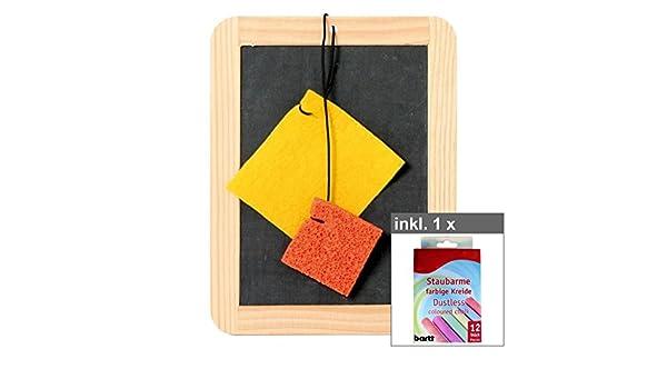 12er Set farbige Kreide Kreidetafel mit Schwamm /& Lappen ca 22 x 17 cm inkl