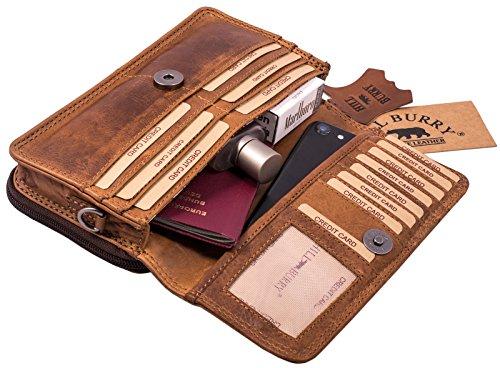 Hill Burry Echt-Leder Umhängetasche | Reisebrieftasche aus naturgegerbtem hochwertigem Rindsleder - Organizer | Reisebrieftasche - Damen & Herren | Handgelenktasche - Travel Wallet (Braun)
