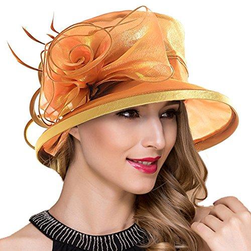 Ruphedy Königliche Ascot Derby Cloche Hüte der Frauen britische Kirchen-Kleid-Tee-Party Eimer Hut S051 (S043-Gold)