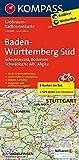 Baden-Württemberg Süd, Schwarzwald, Bodensee, Schwäbische Alb, Allgäu: Großraum-Radtourenkarte 1:125000, GPX-Daten zum Download (KOMPASS-Großraum-Radtourenkarte, Band 3711) -