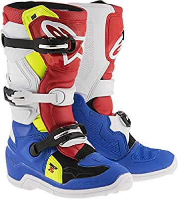 Alpinestars Kids Botas de Motocross Tech 7S. Azul/Blanco/Rojo/Fluo Amarillo