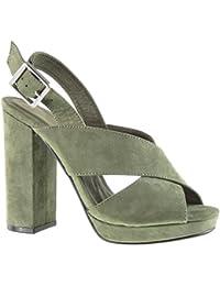 Angkorly - Zapatillas de Moda Sandalias Mules zapatillas de plataforma abierto mujer tanga Hebilla Talón Tacón ancho alto 12 CM - Verde