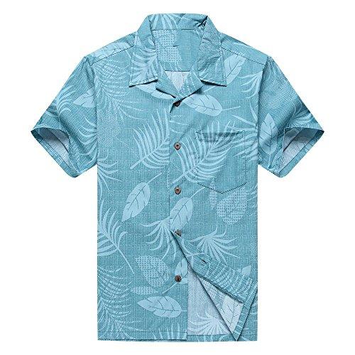 Hombres-Aloha-camisa-hawaiana-en-Floral-y-Hoja-en-Aqua-L