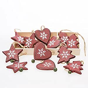 Bo te de 12 c urs en bois d corations de sapin de no l for Decoration de noel amazon