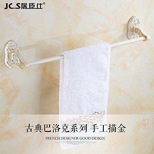 LHbox Tap Gold und Weiß Retro Grill weiße Farbe Einhebelsteuerung Handtuchhalter Handtuchhalter WC...