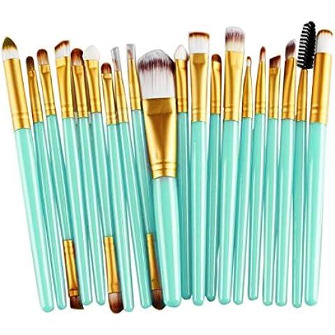 Fortan 20 pezzi di spazzola di trucco strumenti Make-up da toeletta del corredo di lana di spazzola di trucco -