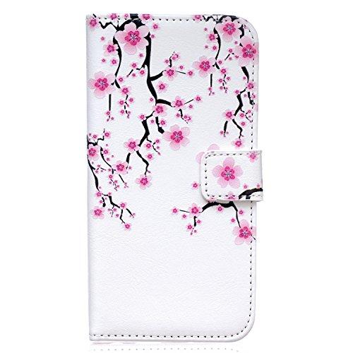 Qiaogle Telefon Case - PU Leder Wallet Schutzhülle Case für Apple iPhone 7 Plus (5.5 Zoll) - XIS14 / Plum Blume XIS14 / Plum Blume