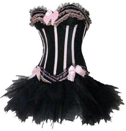 Forever Young - Damen Burlesquetänzerin-Kostüm - Korsett + Tutu-Röckchen für Cancan - Größe 42 Schwarz