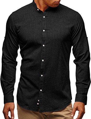 Pxmoda Herren Langarm Oxford Hemd Button-Down Freizeit Hemden (A-Schwarz, X-Large) (Oxford-hemd)