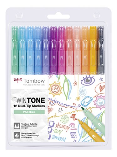 Tombow WS-PK-12P-2 Twintone Marker Set 12-Pack, Dual-tip, pastel (Aqua Journal)