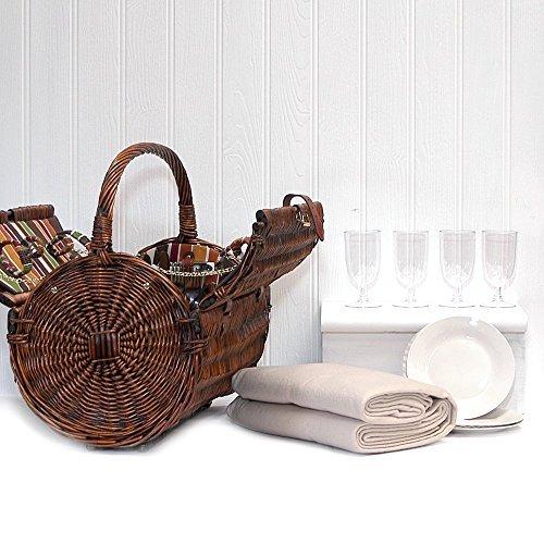 Luxus Picknickkorb 'Cantley' für 4 Personen Mit Creme Farbener Fleece Decke - Das Ideale Geschenk Zum Geburtstag, Jahrestag , Hochzeit