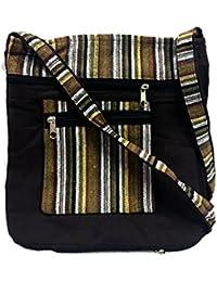 Brown Embroidery Bohemian Crossbody Sling Bag Cotton Handmade Passport Handbag