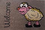 FS Robuste und originale Natur Kokos Fussmatte Welcome Sheep (Willkommen Schaf) 40 x 60 cm