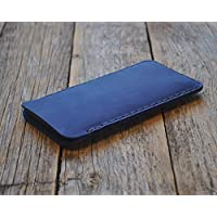 Étui bleu pour iPhone XS Max, 8 Plus, 7 Plus, 6/6s Plus en cuir véritable. Coque housse etui case cover pochette