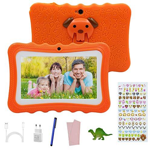 Tablet para Niños de 7 Pulgadas , 2GB RAM + 32GB , con Memoria Escalable ,Tablet Infantil con Android 7.0, Doble Cámara , con Funda de Silicona, Adecuado para Juegos Educativos. (Orange)