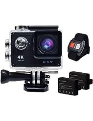 Hieha® 4K Full HD WiFi 1080P 12MP 2 Zoll 170 ° Weitwinkel-Objektiv Wasserdichte Mini DV Actioncam Sportkamera Camcorder mit Fernbedienung und zwei 1050mAh Batterien Schwarz