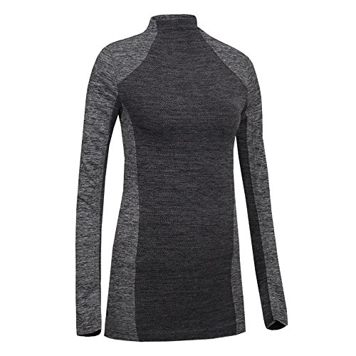 Wenyujh Femme T-shirt de Sport Slim Manche Longue Col Montant Fashion Tops Haut Collant Streche Respirant Sportswear Survêtement Yoga Gym Fitness Course Gris foncé