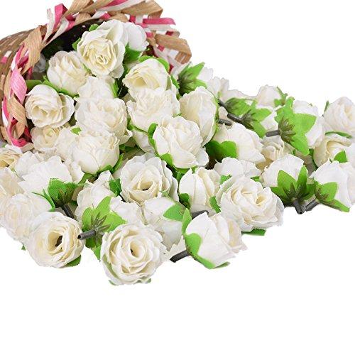 Yalulu 100 Stk. Mini Rosenköpfe Kunstrose Kunstblumen Rosenblüten Künstlicher Rosen Hochzeit Party Deko (Weiß)