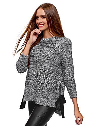 oodji Ultra Damen Lässiger Pullover mit Schleifen, Grau, DE 40 / EU 42 / L