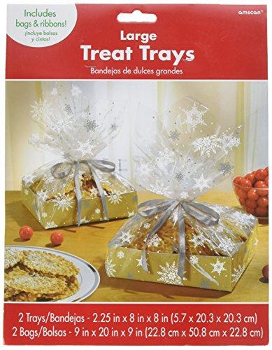 Kraft großes behandeln Tablett mit Cello Tasche Weihnachten Party Geschenk für Giveaway (2Sets), transparent/weiß, 28,3x 21,6cm