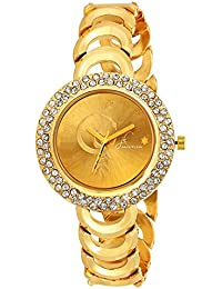 Jack Klein Stylish Golden Metal with Shiny Stone Wrist Watch for Women