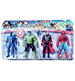 #2: NMJ Avengers Toys Set - Captain America , Hulk, Thor and Spiderman - Infinity War 4 Hero Collection (Multicolour)