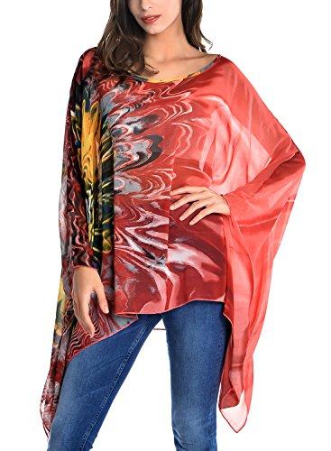 DJT Femme T-Shirt Manches Chauve-souris en Tulle Blouse Imprime Tops Brun