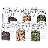MamboCat 12er Set Gewürzgläser Lotta | je 250 ml | Vorratsglas mit Deckel + Dichtring | Vierkant-Flasche | Essig & Öl | Küchen-Zubehör | Aufbewahrungs-Glas