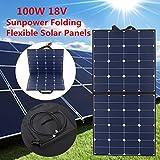 Solarpanel MOHOO Solar-Ladegerät 5.5A 18V 100W sunpower_Chip Monokristalline Silizium-Solarzellen Faltbare Solarzellen mit MC4 Ladekabel für Auto-Batterien, Auto, RV, Boot Solar-Straßenlaterne usw.