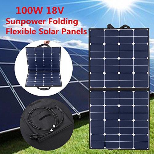 Solarpanel MOHOO 100W 5.5A 18V Solarzelle zusammenklappbar Solaranlage für Wohnmobil, Auto, Boot - Koffer Solar