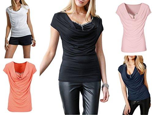 Smile YKK Sexy Damen Tief Kragen Kurzarm Oberteil Casual Slim T-Shirts Pullover Basis T Shirt Weiß