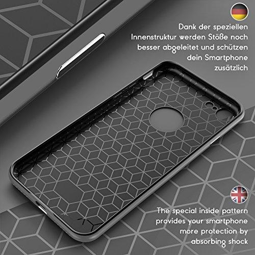 URCOVER® Housse Carbon Protection | Apple iPhone 7 | TPU Plastique in Gris | Coque Mince Anti-choc Étui Bumper Coquille Deux Côtés Armor Cover Case Élegant Semi Rigide Double Gris