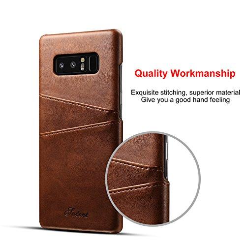 Samsung Galaxy Note 8 Hülle mit Kartenhalter, 2 Kreditkarten-ID-Kartensteckplätze, Ultra-dünner schützender Telefonkasten für Note 8 - Braun Braun