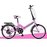 XQ- 20 Zoll XQ Unterschiedliche Geschwindigkeit Faltbares Fahrrad Dämpfung Fahrrad Erwachsene Männer Und Frauen Studentenauto ( Farbe : Pink )