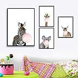 WZJYAJZW 4 Leinwand Gemälde Giraffe Zebra Tier Poster und Drucke Leinwand Kunst Malerei Wandkunst Kinderzimmer Dekoration Bild nordischen Stil Kinder Dekoration