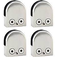 Discoball - 4 abrazaderas para barandillas de cristal (acero inoxidable, diseño plano, de 10 a 12 mm)