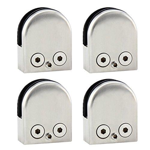 Discoball - 4 abrazaderas para barandillas de cristal (acero inoxidable, diseño plano,...