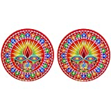 DollsofIndia Pair Of Rangoli Stickers With Diya Design - Dia - 9 Inches Each (RX05)