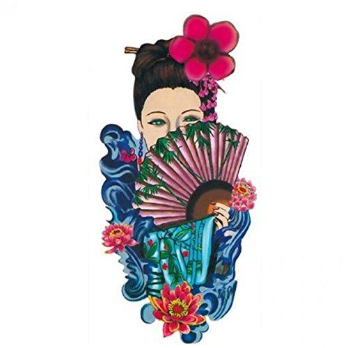 Grashine Halloween Tattoo für Erwachsene schönes Mädchen mit schönen Kleid und Fan realistisch und gefälschte temporäre Tattoos