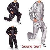 CAMTOA Heavy Duty Sauna Sweatanzug Saunaanzüge Schwitzanzug Slimming für Gym Training Fitness Abnehmen Fitnessanzug Anti-Rip L/XL/2XL/3XL/4XL Schwarz XL