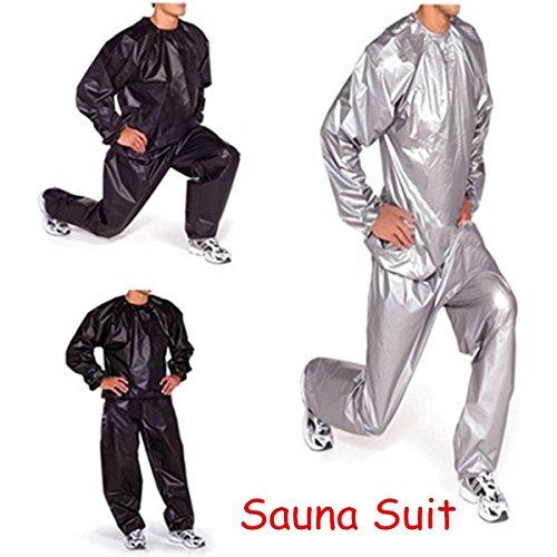 CAMTOA Heavy Duty Neutral Vestiti Di Sauna Sala Fitness Sudore Per l'esercizio Fitness Perdita Di Peso Anti-Rip grigio L