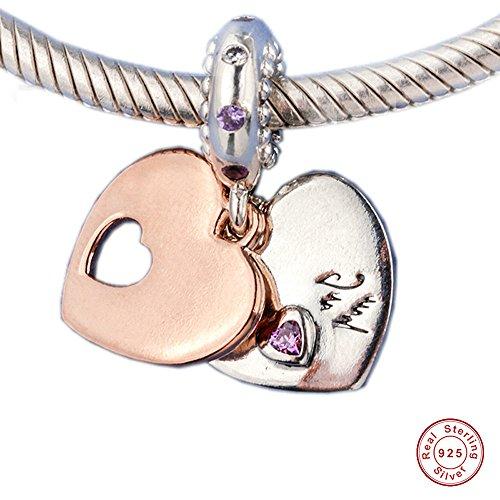 MOCCI 2018 Mutter Tag Geschenke Teil meines Herzens Dangle Rose Soft Pink & Lila Kristalle klar CZ Bead 925 Silber DIY passt für Original Pandora Armbänder Charm Modeschmuck