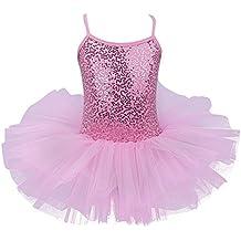 FEESHOW MAILLOT Ballet Niñas Vestido de Danza Con Lentejuelas Leotardo Tutú DeFiesta Princesa SZ 4 -8años