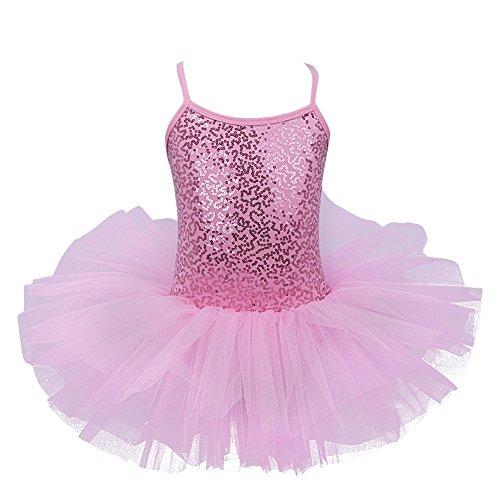 FEESHOW Danza Ballet Contemporáneo Lírico Vestido de Disfraz Tutú De Tul Lentejuelas Leotardo Rosa 5 -6años