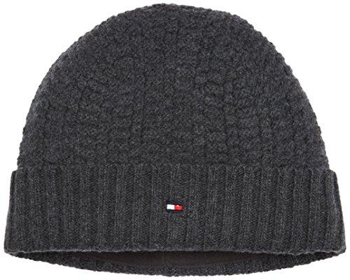 Tommy Hilfiger Herren Strickmütze Structured Knit Beanie, Grau (Charcoal Htr 004), One Size