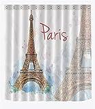 Parigi Torre Eiffel accessorio da bagno per camera da letto in tessuto poliestere decorato, con ganci, 180 * 180 cm