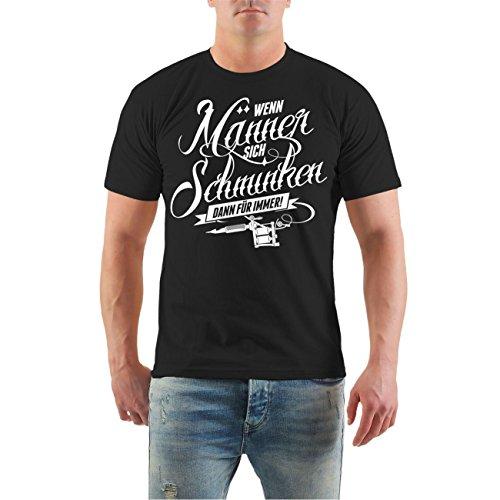 Männer und Herren T-Shirt Männer Tattoo Spruch (mit Rückendruck) Größe S - 8XL Schwarz