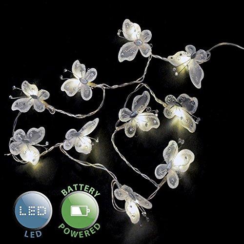 Set di 2 - Catena a LED operata a batteria con paralumi belli e bianchi nella forma di farfalle fatte di seta finta